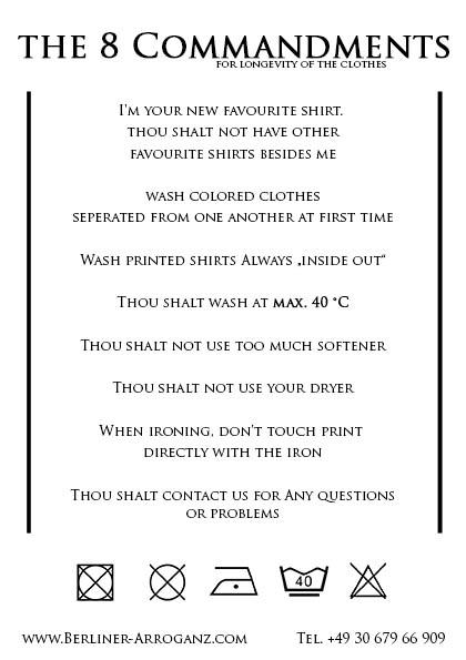 Waschgebote Englisch